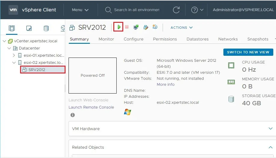 vSphere client showing new VM created called SRV2012
