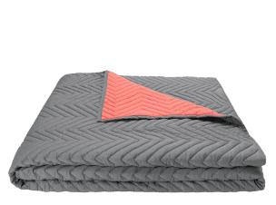 Charleston 100% Cotton Chevron Bedspread, Grey and Coral