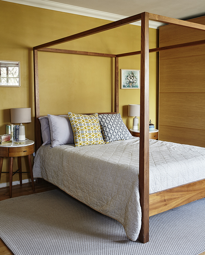 A four poster, Colonial style bed in Rohini's master bedroom.