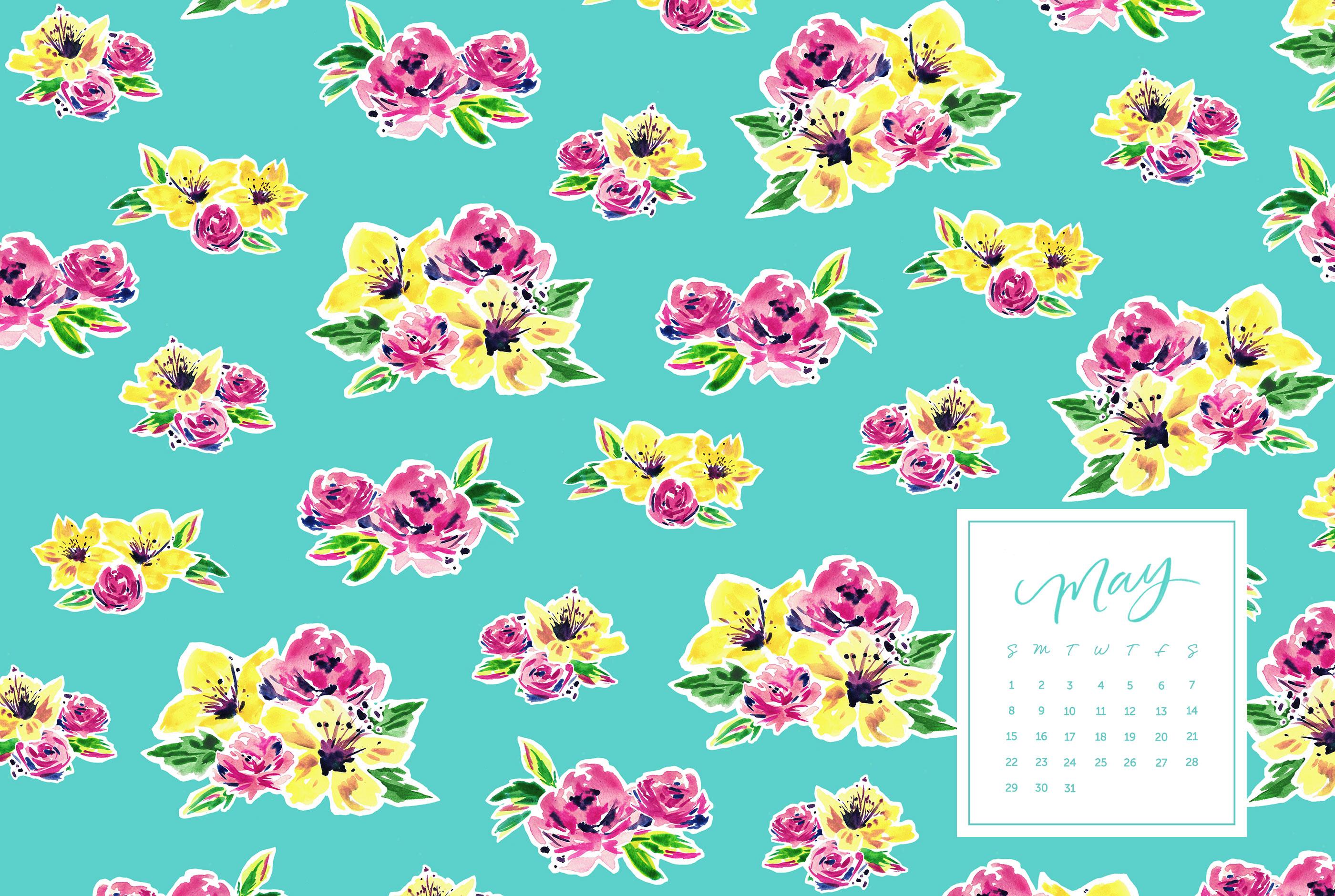 May Calendar Desktop : Floral desktop calendar craftbnb