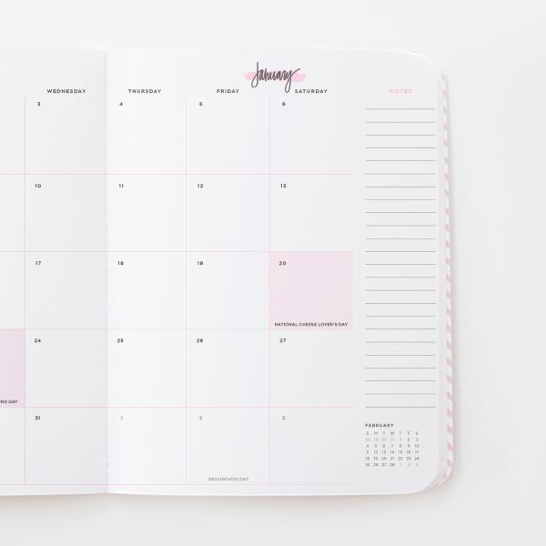 Large 2018 Blush Agenda Months Weeks Jan To Dec