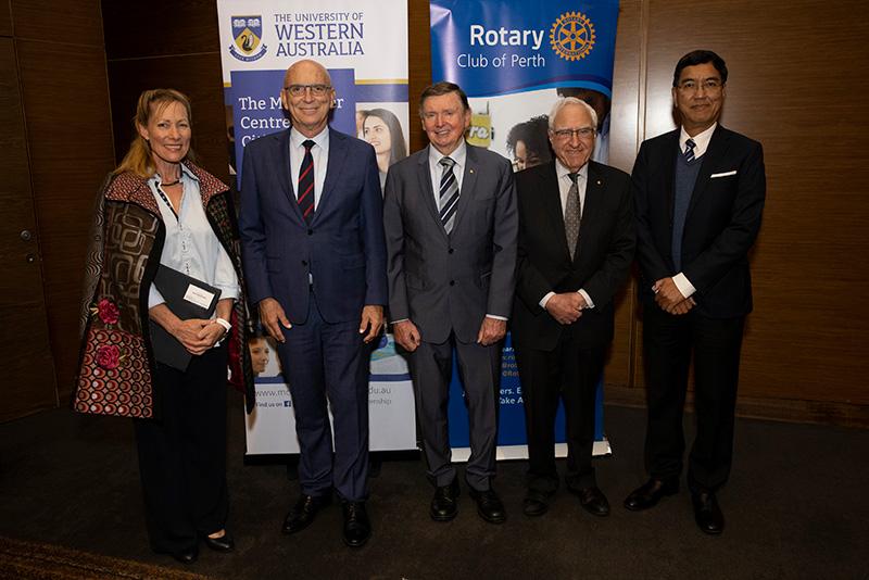 (L-R) Tonya McCusker, Attorney General John Quigley, Malcolm McCusker, Dr Ken Michael and Vice Chancellor Amit Chakma.