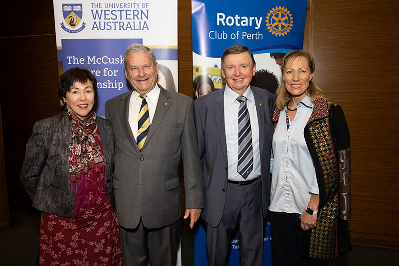 Malcolm and Tonya McCusker with peter Kyle, son of the late Sir Wallace Kyle, and wife Patricia Morgan.