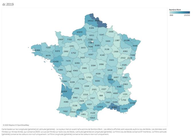 Carte du nombre de morts par département en 2019