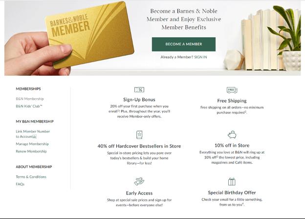 Barnes & Noble loyalty.