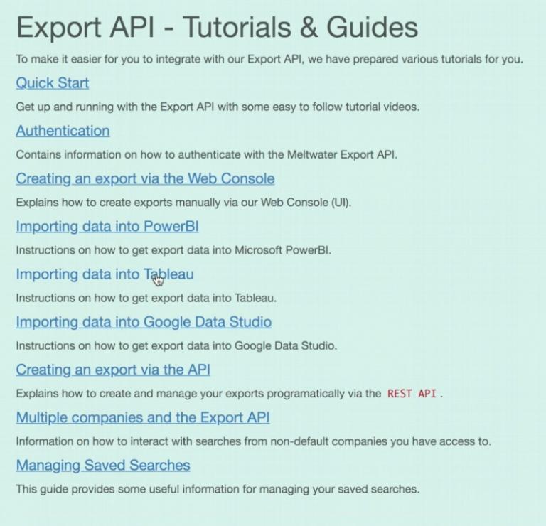 export tutorial