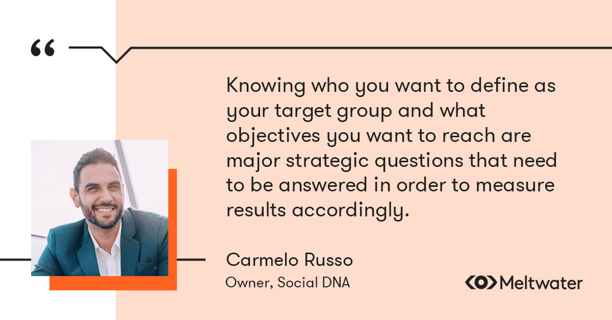 """Carmelo Russo, Owner of Social DNA quote about measuring content marketing, """"Well, firstly knowing who you want to define as your target group and what objectives you want to reach are major strategic questions that need to be answered in order to measure results accordingly."""""""