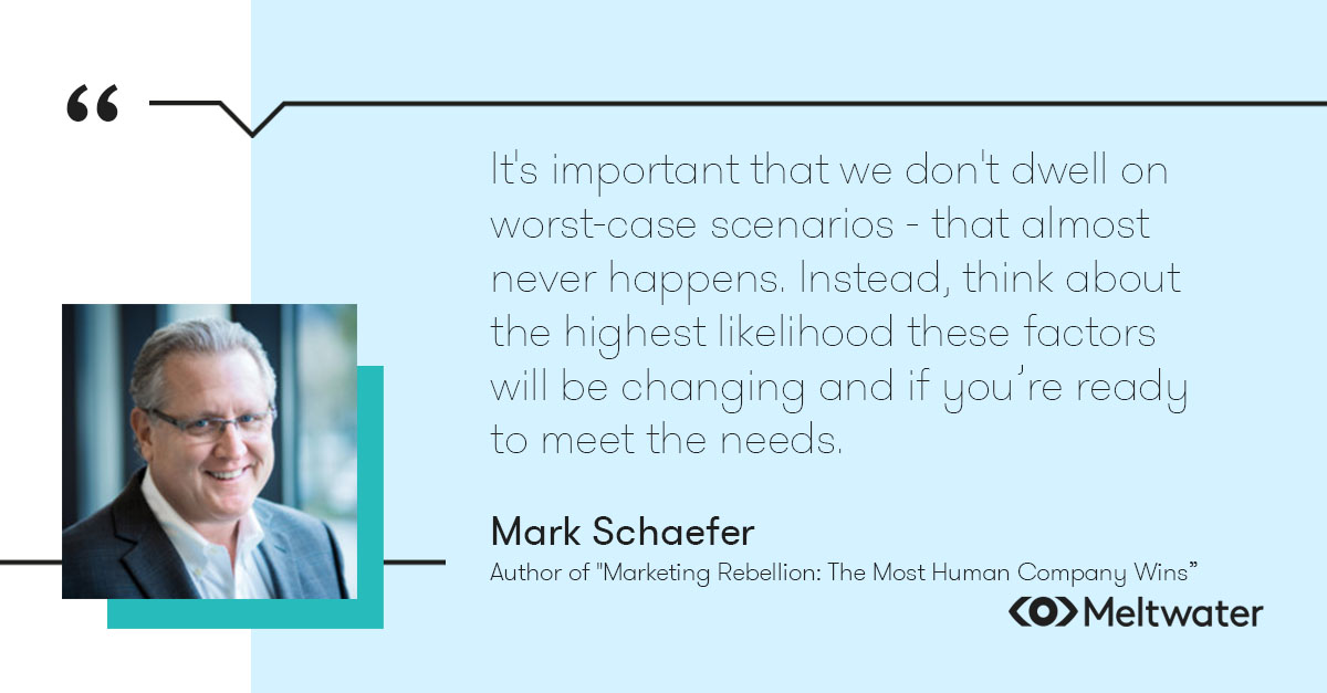 """Mark Schaefer, author of """"Marketing Rebellion: The Most Human Company Wins"""", quote about keeping on top of audience trends. """"It's important that we don't dwell on worst-case scenarios - that almost never happens. Instead, think about the highest likelihood these factors will be changing and if you're ready to meet the needs."""""""