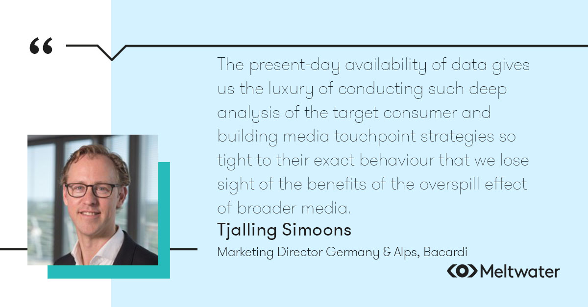 """Tjalling Simoons, Marketing Director Germany & Alps, Bacardi, quote about persona maps, """"The present-day availability of data gives us the luxury of conducting such deep analysis of the target consumer and building media touchpoint strategies so tight to their exact behaviour that we lose sight of the benefits of the overspill effect of broader media."""""""