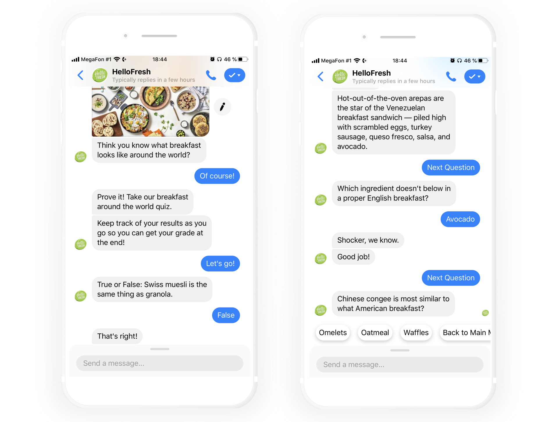 A fun quiz carried out by HelloFresh's chatbot