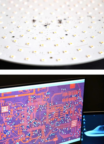 Closeup view of smart lamp surface with lighting sensors from Luke Roberts, sensor chips showed on screen