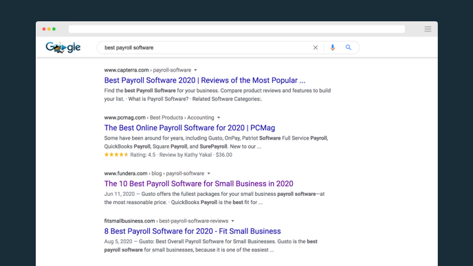 "Google search for ""Best payroll software"""