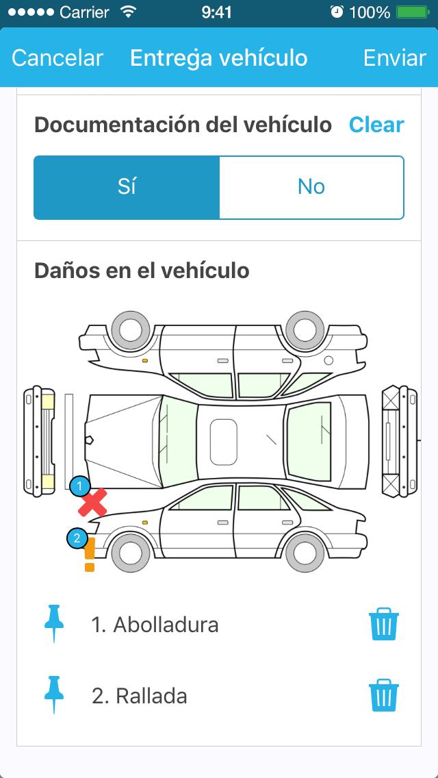 Formulario de control de vehículo