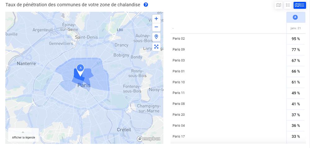 Carte indiquant le taux de pénétration réel d'un magasin sur sa zone de chalandise
