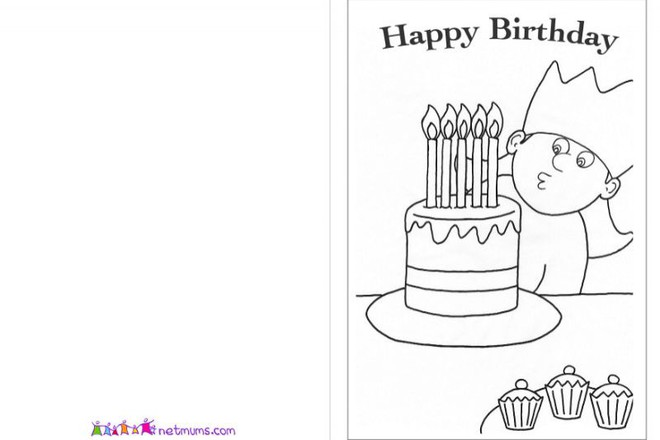 Birthday cards and pictures to print and colour Netmums – Birthday Cards to Print and Colour