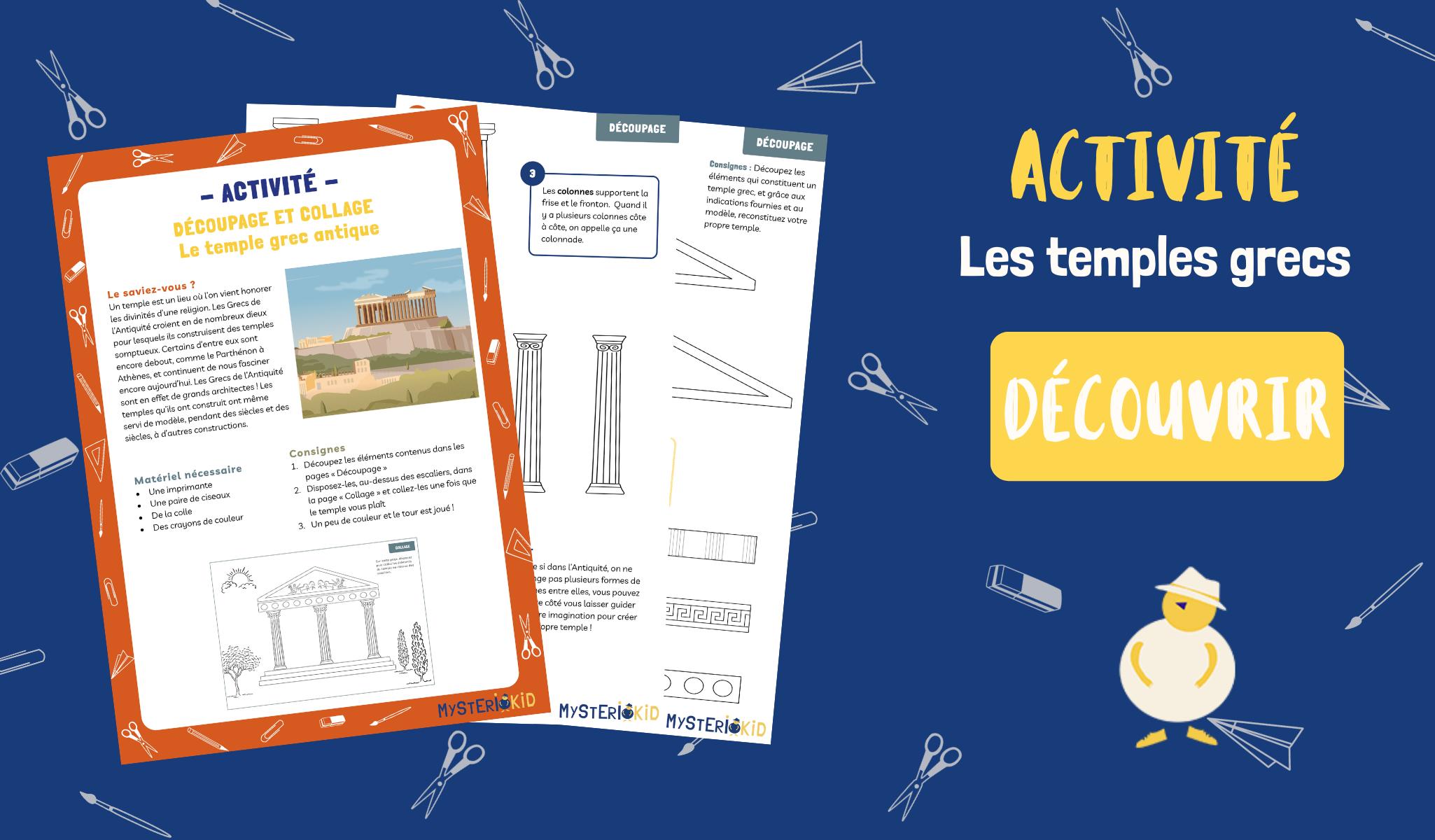 Activité manuelle pour créer un temple grec antique