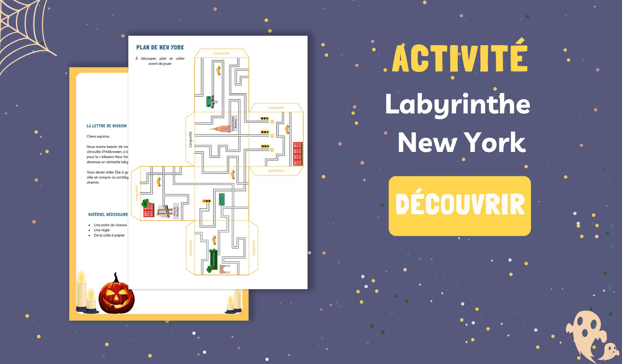 Jeu labyrinthe New York à imprimer Mysteriokid