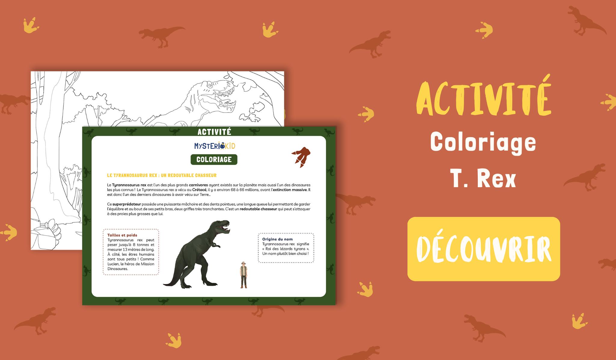 Activité Mysteriokid à télécharger gratuitement : coloriage d'un tyrannosaurus rex