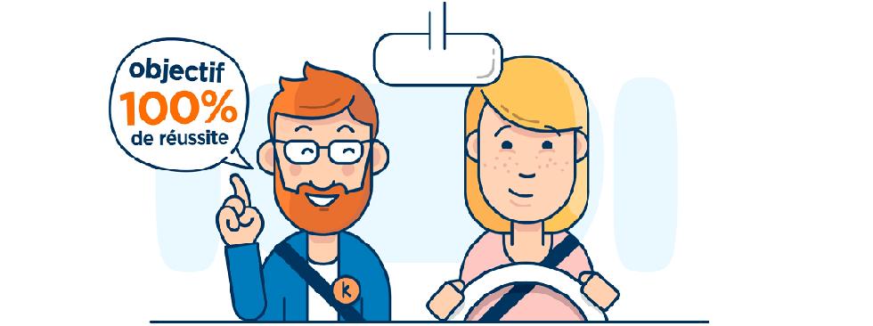Illustration représentant une jeune conductrice et un accompagnateur