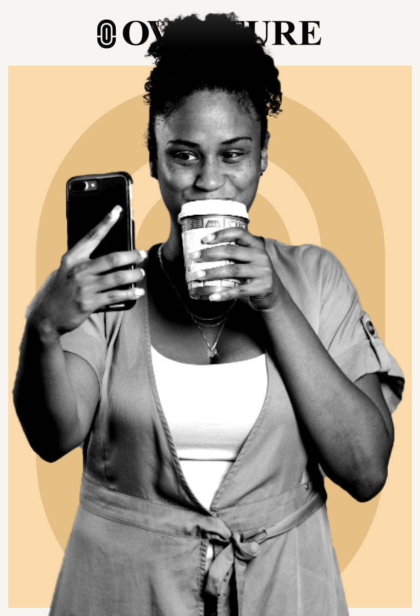 Woman drinking coffee and taking a selfie