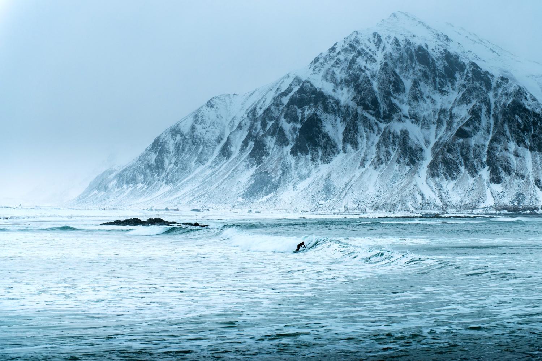 Surfing in Lofoten Norway