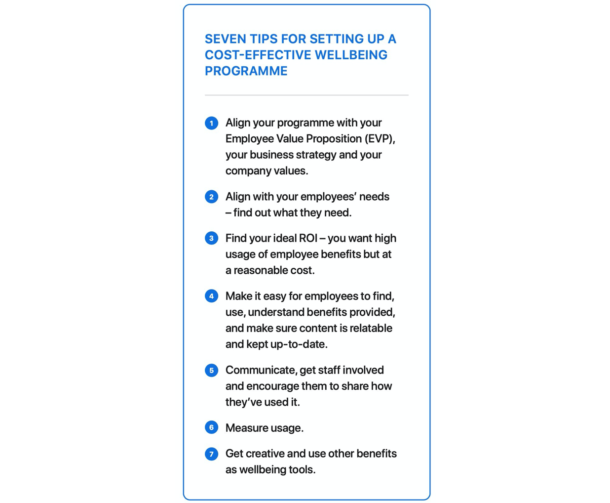 Seven tips for setting up an employee wellbeing program.