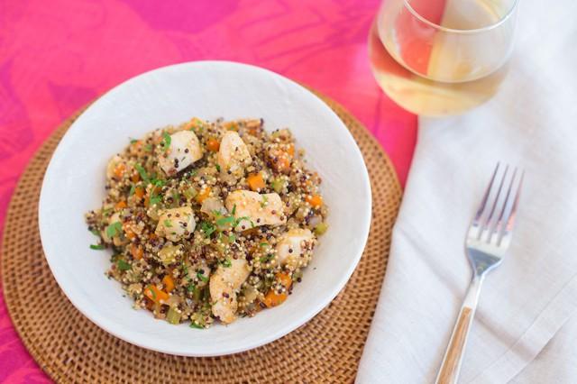 Chicken with Tri-Color Quinoa and Mirepoix