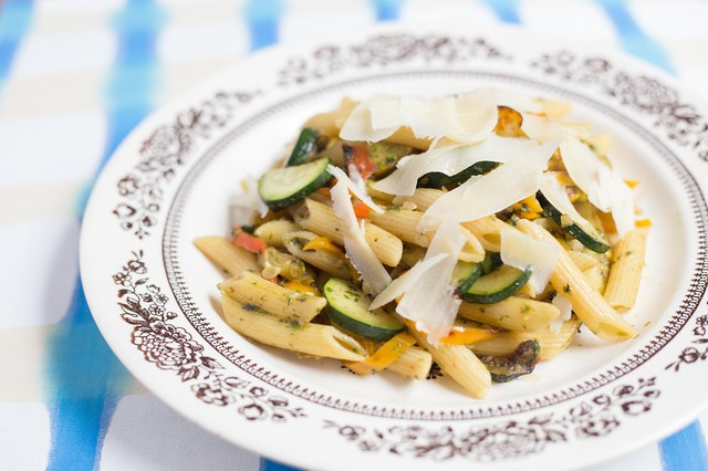 Pesto Penne with Summer Squash and Sweet Peppers