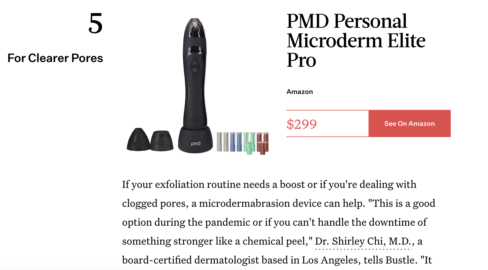 Excerpt featuring the PMD Personal Microderm Elite Pro in Black from Bustle Article
