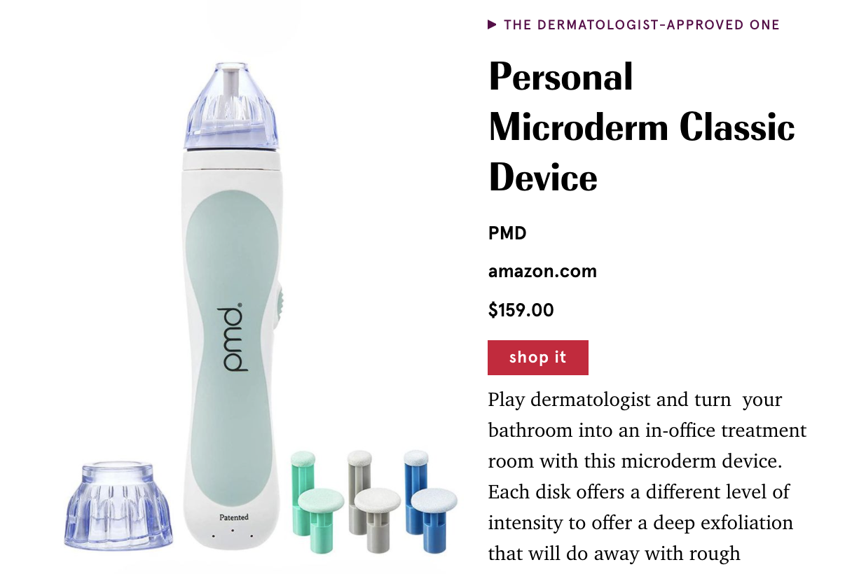 Excerpt from Marie Claire Article Featuring PMD Microderm Classic Device