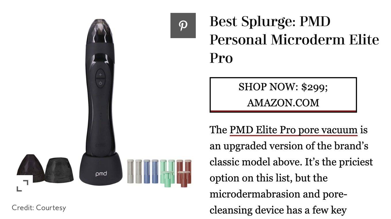 Best Splurge: PMD Personal Microderm Elite Pro. The PMD Elite Pro pore vacuum is an upgraded version of the brand's classic model above. It's the priciest option on this list, but the microdermabrasion and pore-cleasning device has a few key.