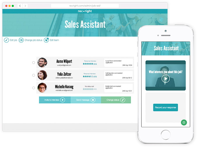 Video recruitment tool is mobile responsive. Use it with every device.