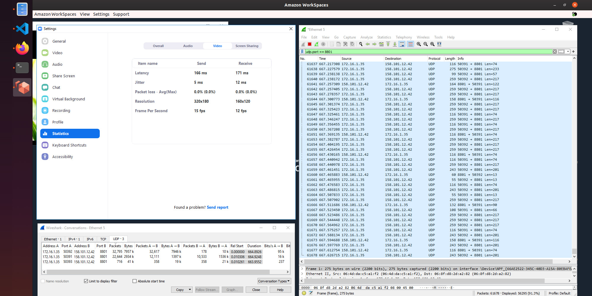 Screenshot of a Zoom client running in Sydney, showing a latency of 171ms.