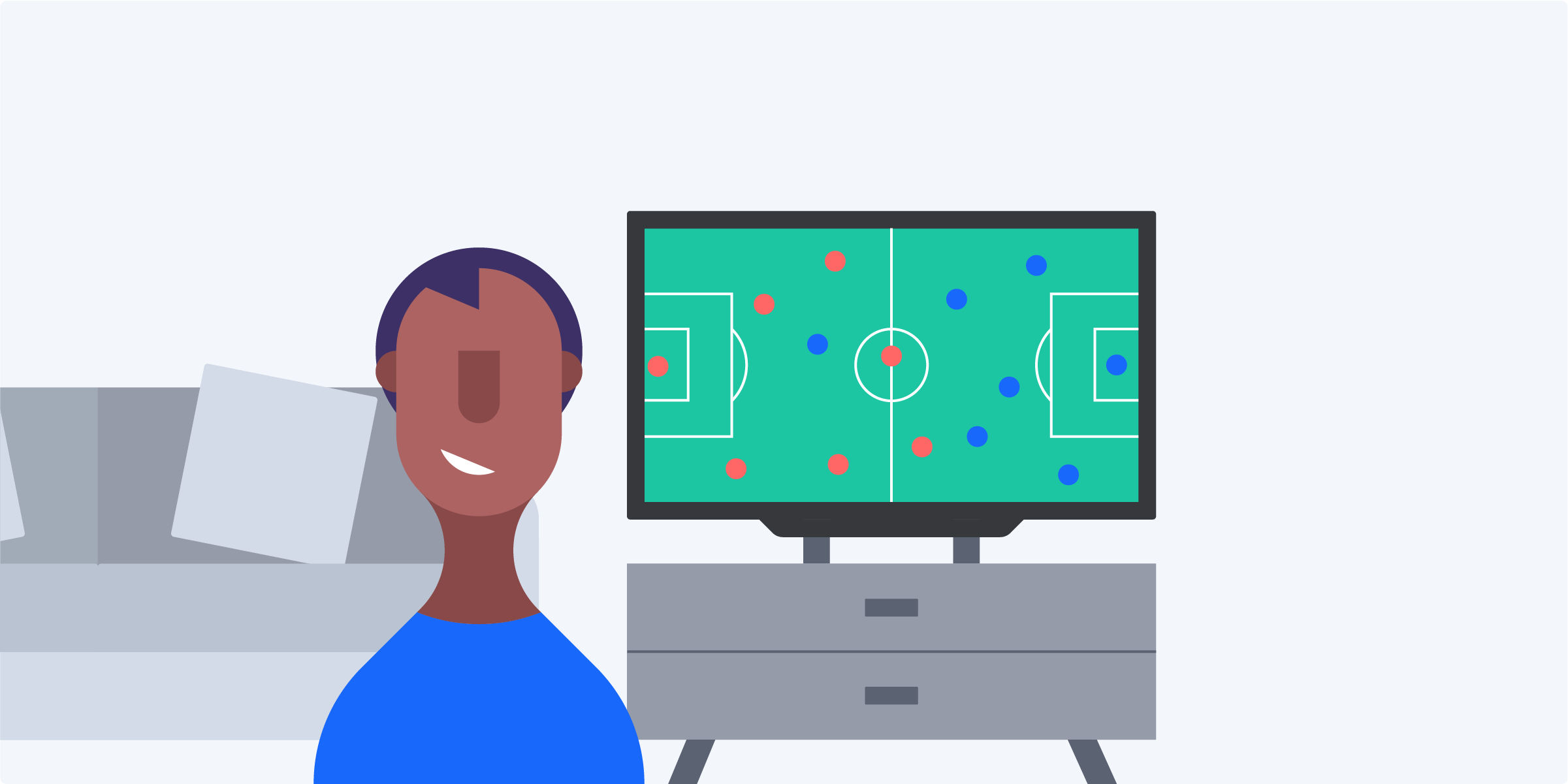 Happy man is playing a football game online