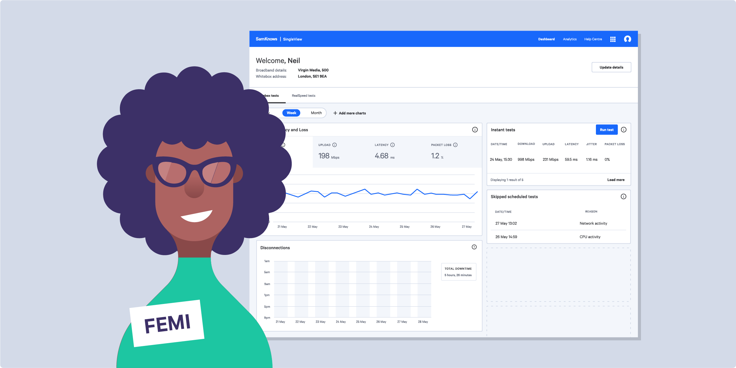 Femi, a customer care agent with a badass afro, looks at the sad man's internet performance on the SingleView dashboard