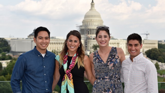 photograph of AU students in front of the capitol building in Washington D.C.