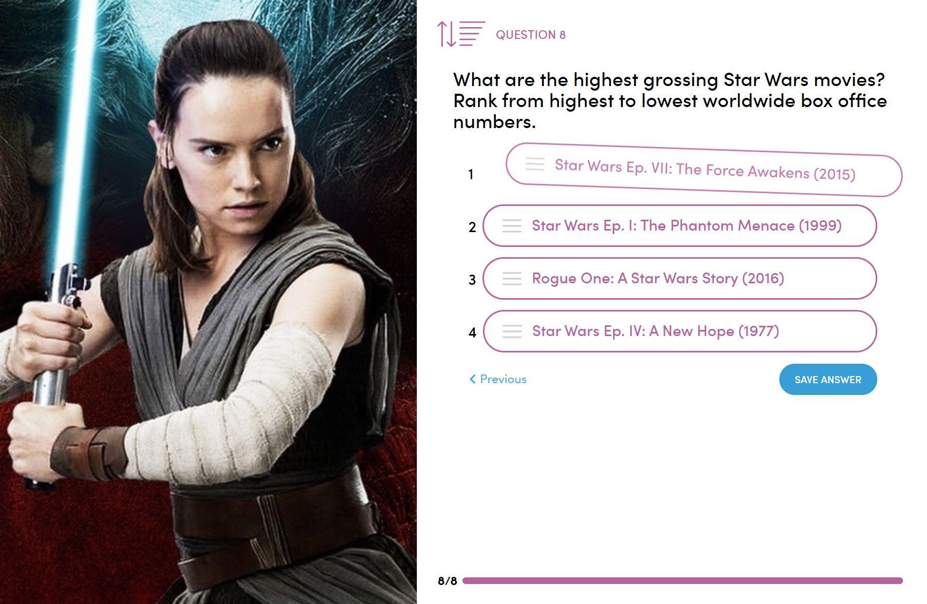 Quiz/ Survey - Sort to order question type - Participant screen