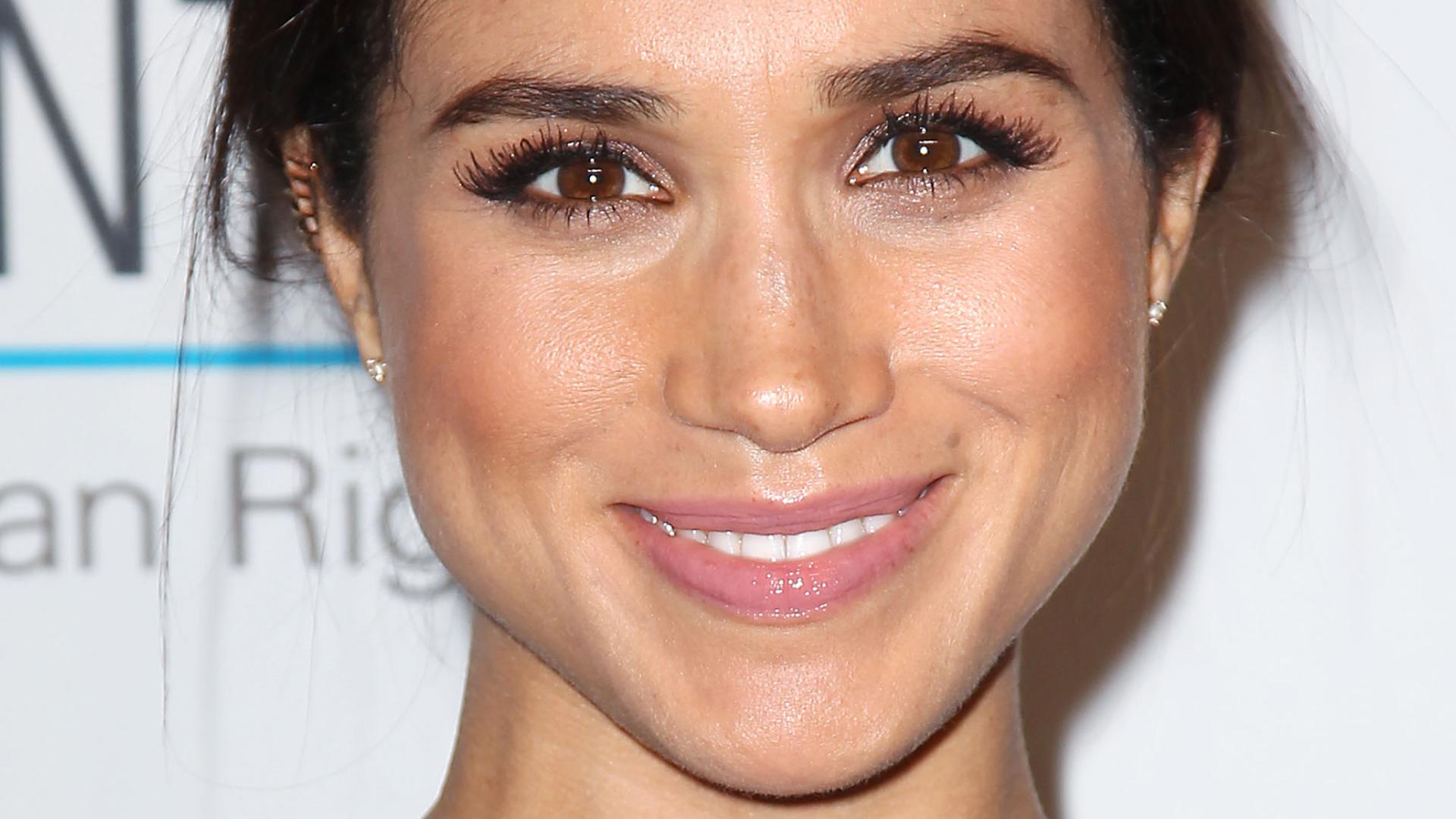 Megan wearing faux mink lashes