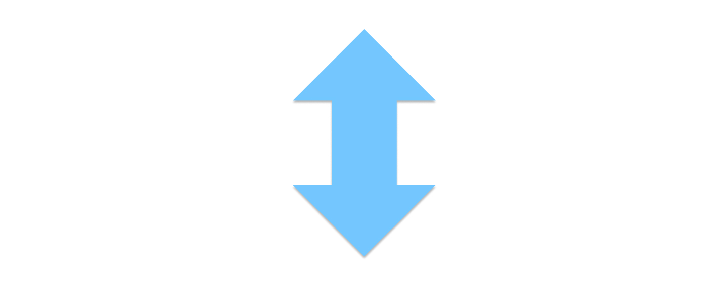 Tappable vertical arrow