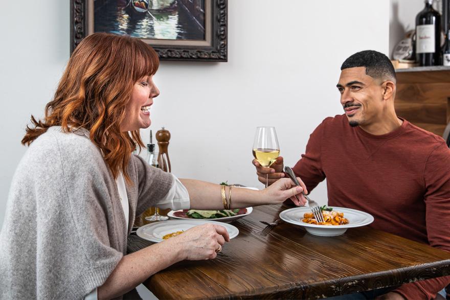 Couple dining at Rosmarino in Newberg