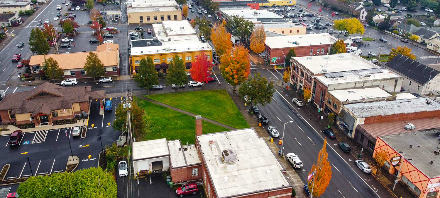 Aerial view of downtown Newberg in the autumn