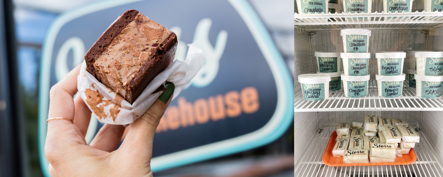 Storrs Smokehouse - Ice cream sandwich and case full of ice cream