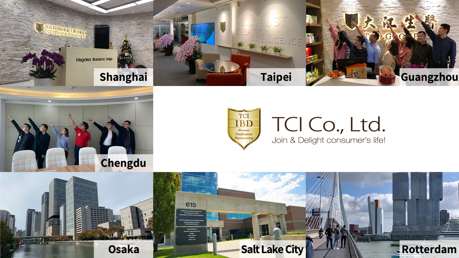 TCI Shanghai office, Taipei office, Guangzhou office, Chengdu office, Osaka office, SLC office, Rotterdam office