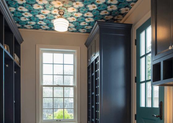 papier peint plafond bleu