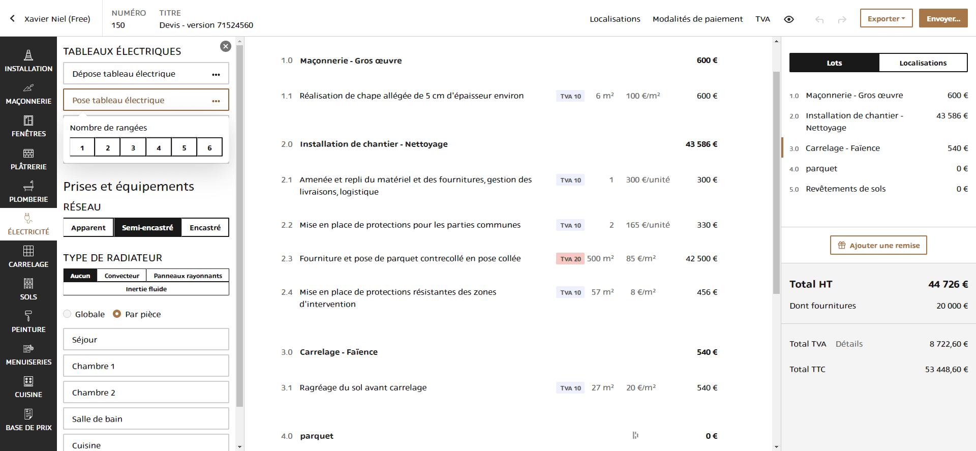CRM logiciel devis base prix hemea