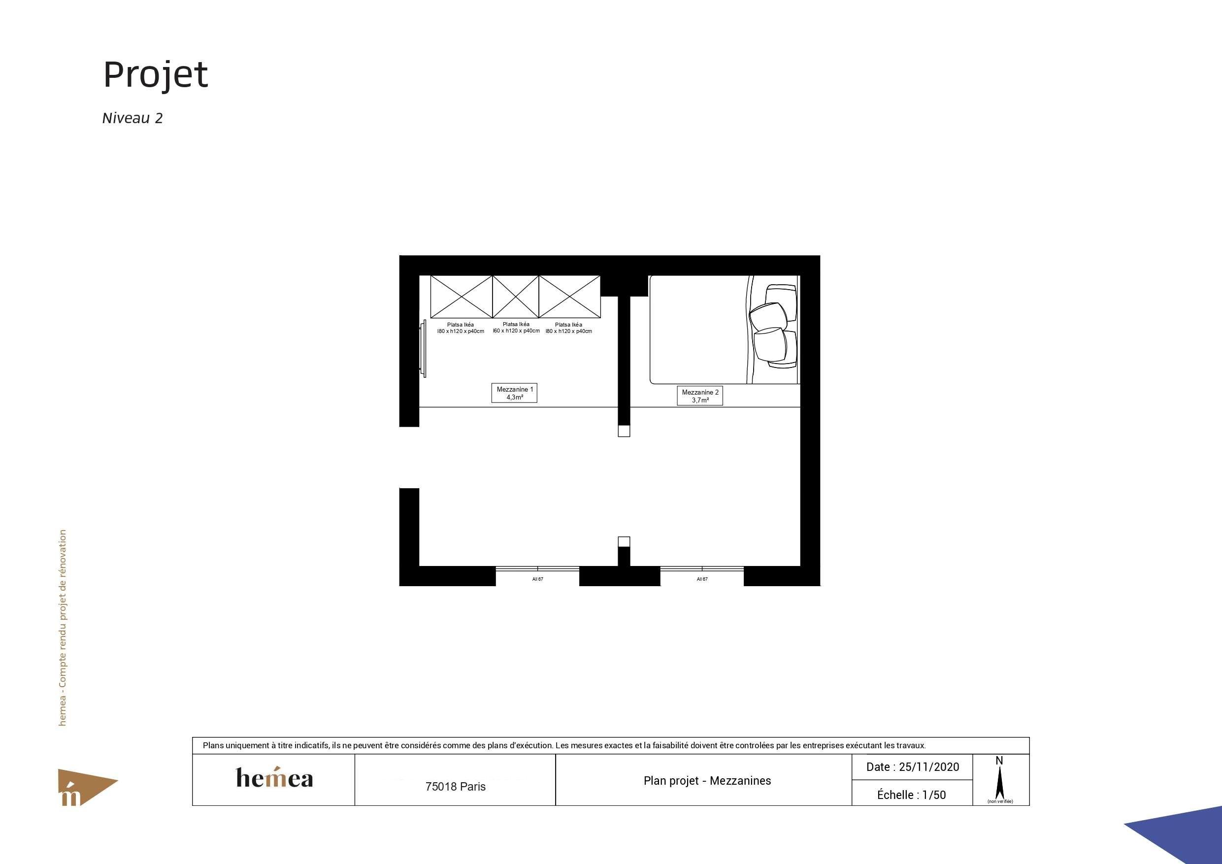 Plan niveau 2 Rénovation studio de 18 m² Paris 18