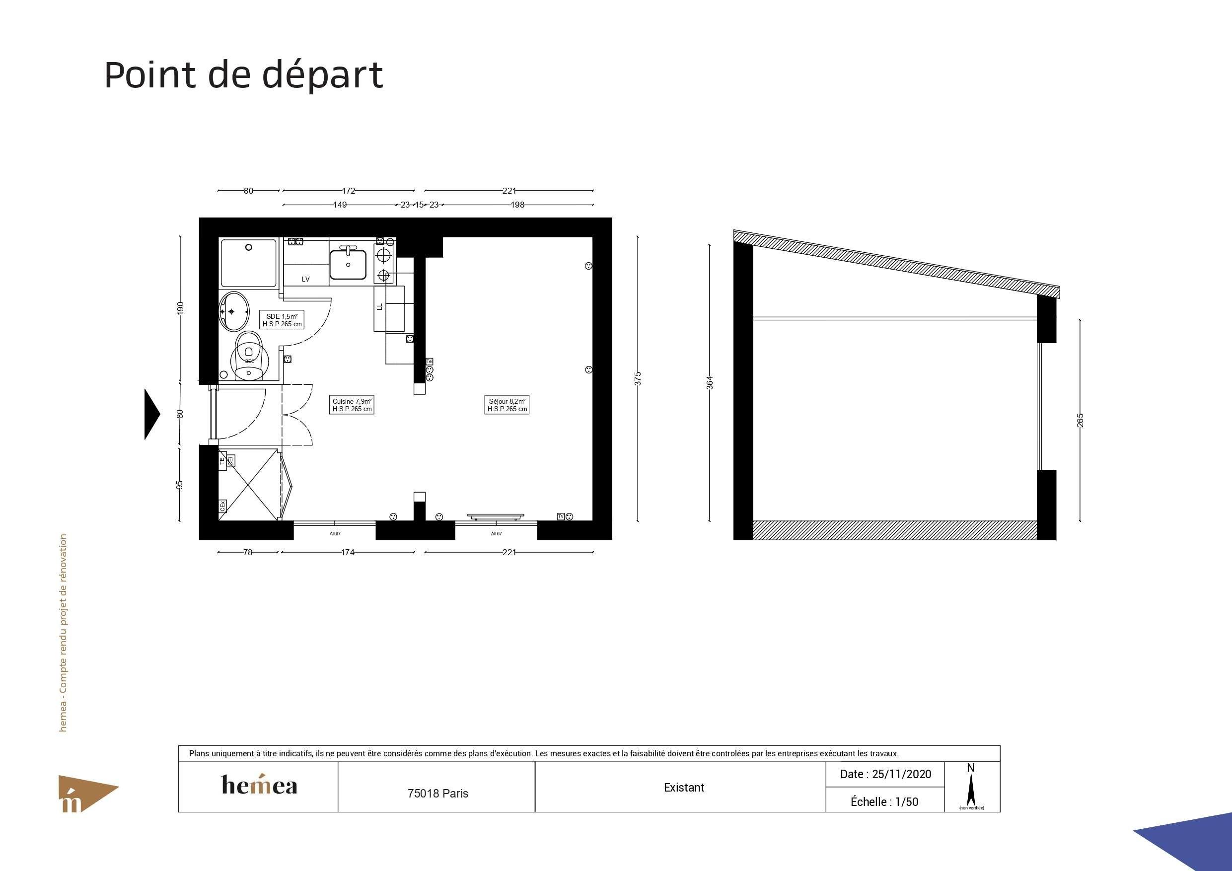Plan départ Rénovation studio de 18 m² Paris 18