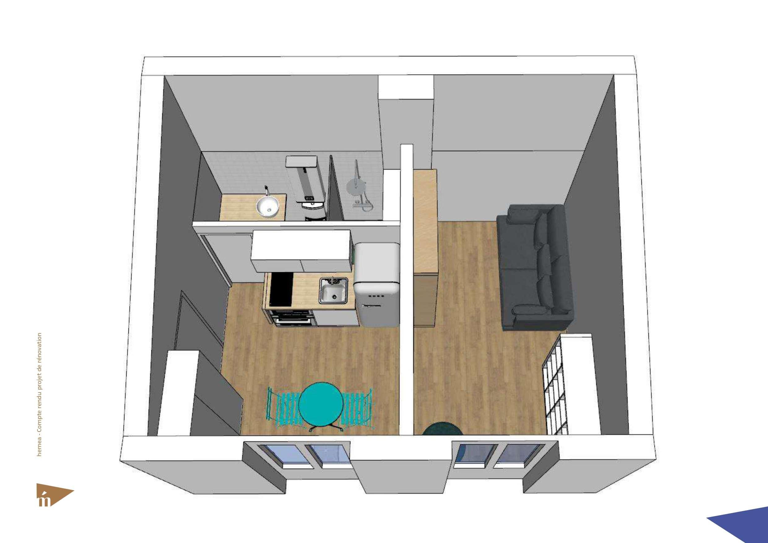 Plan 3D du studio vue d'en haut niveau 1