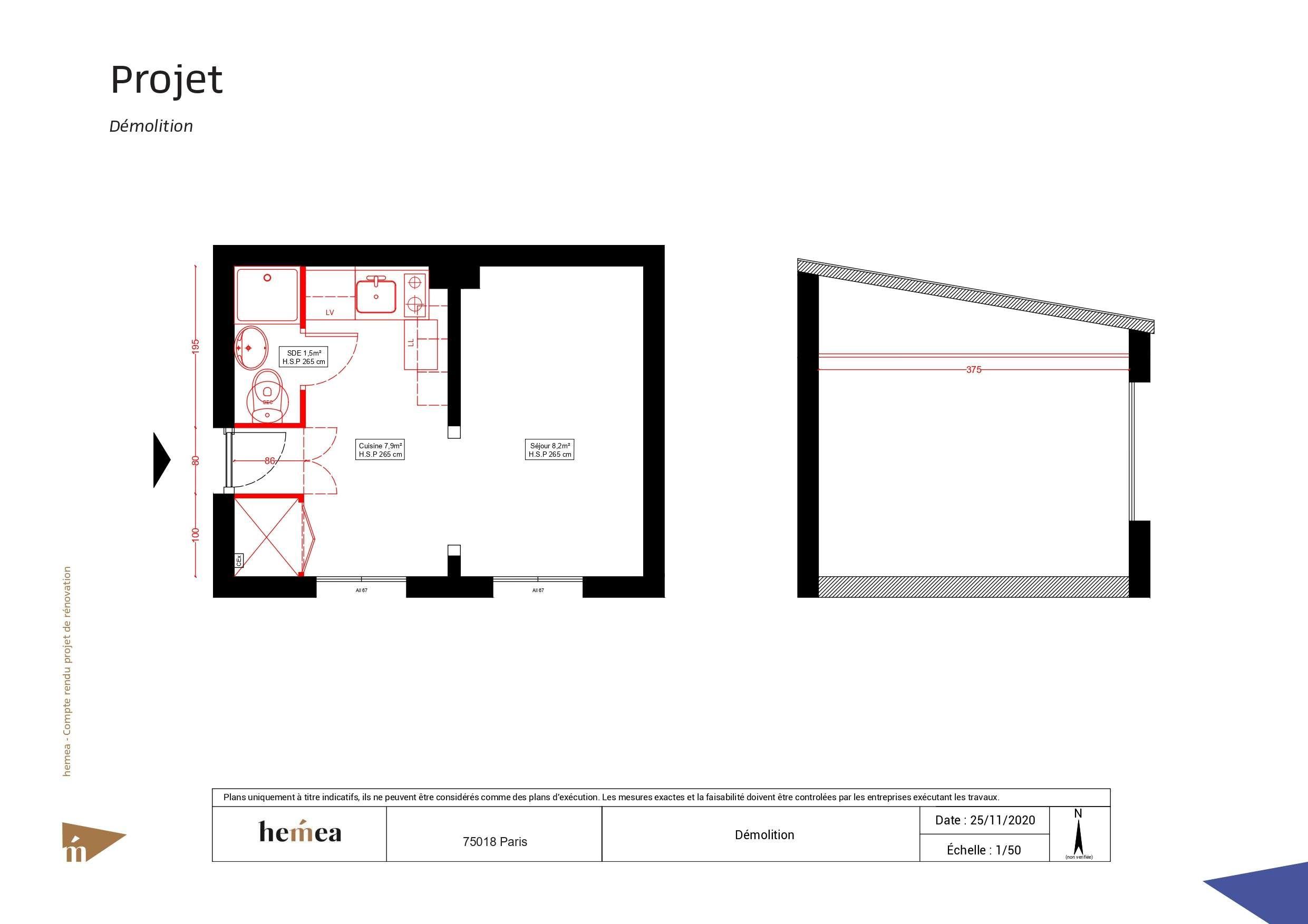 Plan Démolition Rénovation studio de 18 m² Paris 18