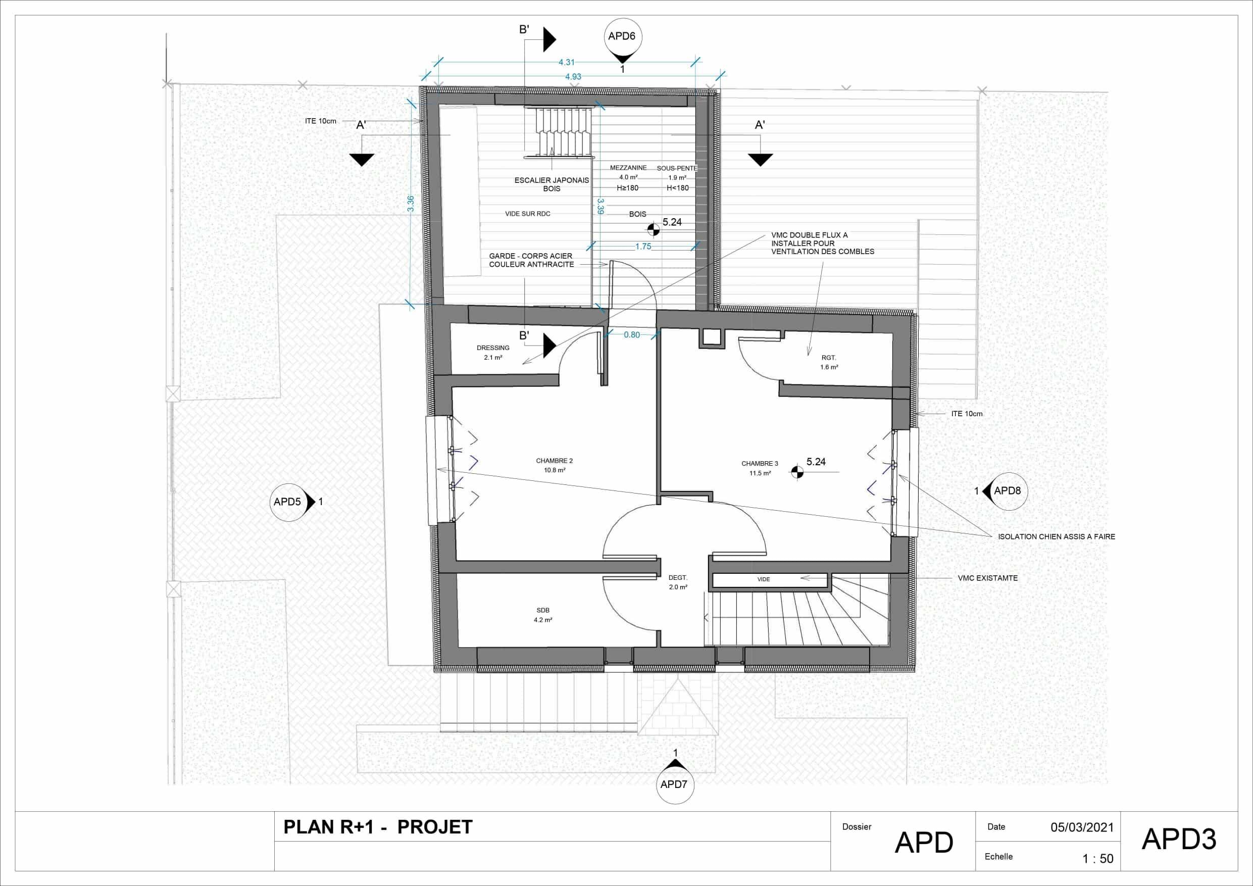 Plan de masse R+1